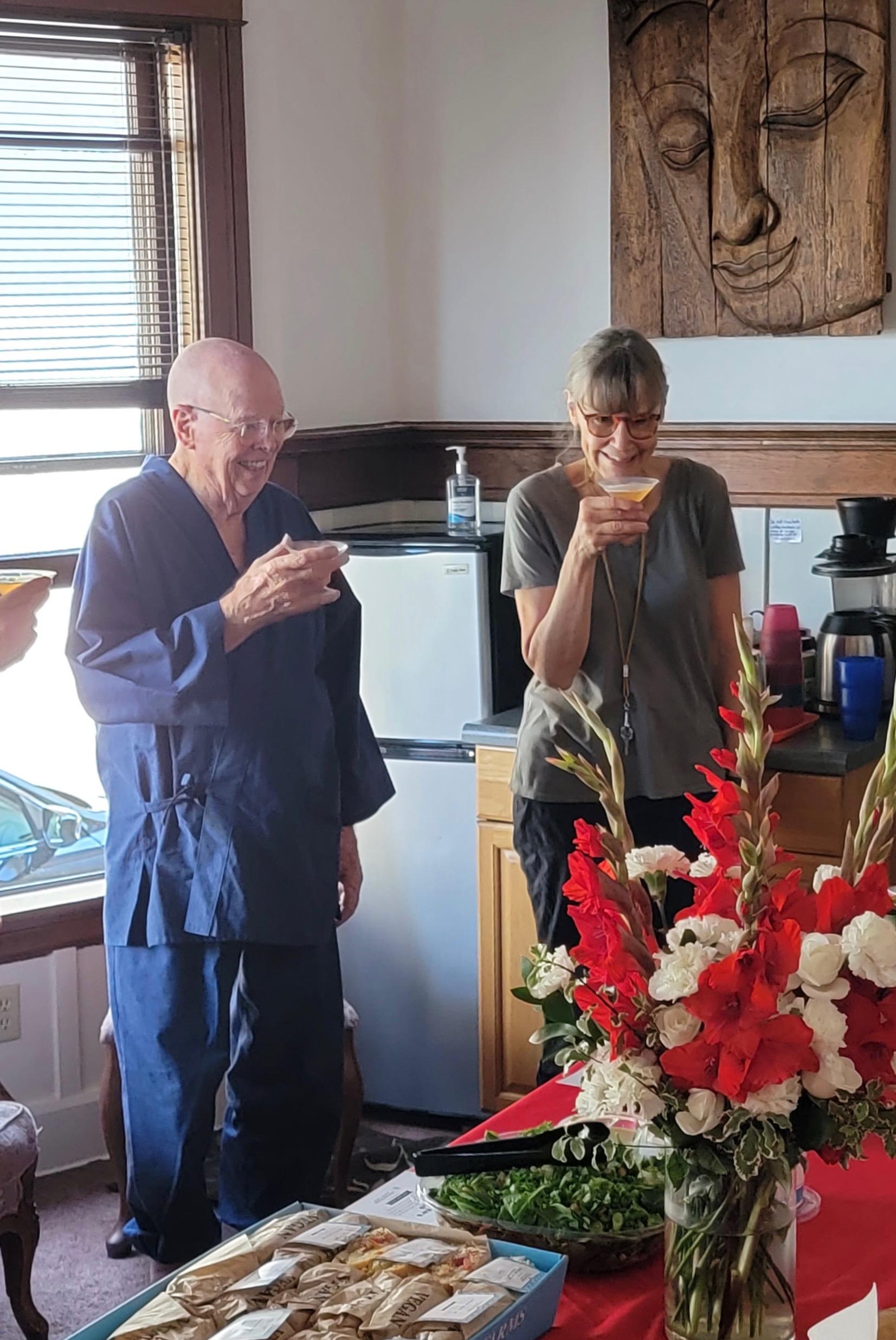 Roshi and Shuso toast